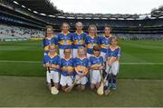 6 August 2017; The Tipperary team, back row, left to right, Eve Dwyer, Glenbeg, Waterford, Emma Conway, Scoil Mhuire Gan Smál, Lixnaw, Kerry, Sarah Fitzgerald, Crecora NS, Patrickswell, Limerick, Caoimhe Sheehan, Scoil Mhuire, Milford, Cork, Mary Hanrahan, Crusheen NS, Crusheen, Clare, front row, left to right, Lucy Matthews, St Mary's PS, Aughlisnafin, Down, Clara McDonnell, Mercy Convent National School, Naas, Kildare, Amy O Donnell, St Michael's NS, Clerihan, Tipperary, Sarah Lambe, Lurgybrack NS, Letterkenny, Donegal, and Jessica Massingham, St John Baptist PS, Belfast, Antrim, ahead of the INTO Cumann na mBunscol GAA Respect Exhibition Go Games at Galway v Tipperary - GAA Hurling All-Ireland Senior Championship Semi-Final at Croke Park in Dublin. Photo by Daire Brennan/Sportsfile