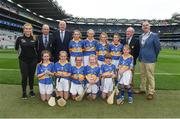 6 August 2017; Cumann na mBunscol President Liam McGee Uachtarán Tofa Chumann Lúthchleas Gael John Horan, Mini-Sevens Coordinator Gerry O'Meara, President of the INTO John Boyle, with the Tipperary team, back row, left to right, Emma Conway, Scoil Mhuire Gan Smál, Lixnaw, Kerry, Sarah Fitzgerald, Crecora NS, Patrickswell, Limerick, Caoimhe Sheehan, Scoil Mhuire, Milford, Cork, Mary Hanrahan, Crusheen NS, Crusheen, Clare, front row, left to right, Eve  Dwyer, Glenbeg, Waterford, Lucy Matthews, St Mary's PS, Aughlisnafin, Down, Clara McDonnell, Mercy Convent National School, Naas, Kildare, Amy O Donnell, St Michael's NS, Clerihan, Tipperary, Sarah Lambe, Lurgybrack NS, Letterkenny, Donegal, and Jessica Massingham, St John Baptist PS, Belfast, Antrim, ahead of the INTO Cumann na mBunscol GAA Respect Exhibition Go Games at Galway v Tipperary - GAA Hurling All-Ireland Senior Championship Semi-Final at Croke Park in Dublin. Photo by Daire Brennan/Sportsfile