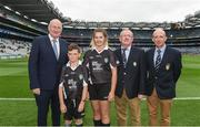 6 August 2017; Uachtarán Tofa Chumann Lúthchleas Gael John Horan, Mini-Sevens Coordinator Gerry O'Meara, President of Cumann na mBunscol Liam McGee, with referees Cormac Murphy, Newtown Dunleckney NS, Bagenalstown, Carlow and Emma Power, Queen of the Universe, Bagenalstown, Carlow, ahead of the INTO Cumann na mBunscol GAA Respect Exhibition Go Games at Galway v Tipperary - GAA Hurling All-Ireland Senior Championship Semi-Final at Croke Park in Dublin. Photo by Daire Brennan/Sportsfile