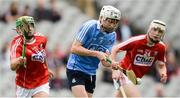 6 July 2017; Seán Kinsella of Dublin in action against Brian Roche, left, and Shane Barrett of Cork during the All-Ireland U17 Hurling Championship Final match between Dublin and Cork at Croke Park in Dublin. Photo by Piaras Ó Mídheach/Sportsfile