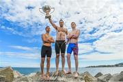 """8 August 2017; The 87th Dún Laoghaire Harbour Race takes place on Sunday next 13th August with over 300 swimmers taking to the waters of Dún Laoghaire Harbour. As this year also marks the Bicentenary of Dún Laoghaire Harbour, the race will be a special occasion for sea swimmers, spectators and the citizens of Dún Laoghaire. Each weekend from June to September Leinster Open Sea in partnership with the swimming clubs of Leinster run approximately forty Open Sea Races along the coast of Dublin and Wicklow. The Dún Laoghaire Harbour Race along with the Jones Engineering Dublin City Liffey Swim are the top two """"blue ribbon"""" races on the Open Sea Calendar in Ireland. In attendance at the launch in Dun Laoghaire Harbour in Dún Laoghaire, Co. Dublin, are from left, Paul O'Flynn, Josh Reilly and Sean Nolan. Photo by Brendan Moran/Sportsfile"""