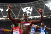 8 August 2017; Consesius Kipruto of Kenya celebrates winning the final of the Men's 3000m Steeplechase event during day five of the 16th IAAF World Athletics Championships at the London Stadium in London, England. Photo by Stephen McCarthy/Sportsfile