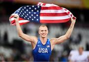 8 August 2017; Sam Kendricks of the USA after winning the final of the Men's Pole Vault event during day five of the 16th IAAF World Athletics Championships at the London Stadium in London, England. Photo by Stephen McCarthy/Sportsfile