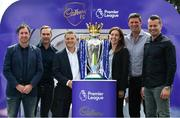 9 August 2017; England and Liverpool football legend, Robbie Fowler, touched down in Dublin today to join Cadbury Premier League ambassadors and Irish football heroes, Niall Quinn, Shay Given and his former Liverpool teammate Jason McAteer, to officially launch Cadbury's brand new partnership with the Premier League, to become their 'Official Snack Partner'. Accompanied by the Premier League Trophy, the four footballing greats descended on Dublin's Sean O'Casey Bridge this afternoon, which Cadbury transformed into a replica players' tunnel to celebrate their sponsorship launch – giving pedestrians a momentary snapshot of the atmosphere players experience, as they are led on to a pitch. In attendance at the launch are from left, Robbie Fowler, Cadbury Premier League Ambassador Jason McAteer, Managing Director Mondelez Ireland, Eoin Kellett, Cadbury Ireland Brand Manager Mary Moran, Cadbury Premier League Ambassadors Niall Quinn and Shay Given. Photo by Brendan Moran/Sportsfile