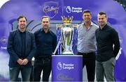 9 August 2017; England and Liverpool football legend, Robbie Fowler, touched down in Dublin today to join Cadbury Premier League ambassadors and Irish football heroes, Niall Quinn, Shay Given and his former Liverpool teammate Jason McAteer, to officially launch Cadbury's brand new partnership with the Premier League, to become their 'Official Snack Partner'. Accompanied by the Premier League Trophy, the four footballing greats descended on Dublin's Sean O'Casey Bridge this afternoon, which Cadbury transformed into a replica players' tunnel to celebrate their sponsorship launch – giving pedestrians a momentary snapshot of the atmosphere players experience, as they are led on to a pitch. In attendance at the launch is Robbie Fowler, left, with Cadbury Premier League Ambassadors, from left, Jason McAteer, Niall Quinn and Shay Given. Photo by Brendan Moran/Sportsfile