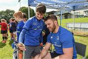 9 August 2017; Jake McInerney with Leinster's Sean O'Brien during the Bank of Ireland Leinster Rugby Summer Camp at De La Salle RFC in Glenamuck North, Dublin. Photo by Matt Browne/Sportsfile