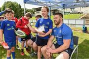 9 August 2017; Olivia Campbell with Leinster's Sean O'Brien during the Bank of Ireland Leinster Rugby Summer Camp at De La Salle RFC in Glenamuck North, Dublin. Photo by Matt Browne/Sportsfile