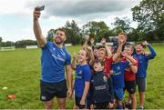 9 August 2017; Leinster's Sean O'Brien and Tadhg Furlong with kids from the camp during the Bank of Ireland Leinster Rugby Summer Camp at De La Salle RFC in Glenamuck North, Dublin. Photo by Matt Browne/Sportsfile