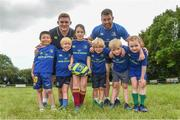 9 August 2017; Leinster's Tadhg Furlong and Sean O'Brien with from left  Jiarui Yu, Micheal Butler, Gwen Delaney, Jamie MacAuley, Andrew Olliffe Bolton and Lorna King during the Bank of Ireland Leinster Rugby Summer Camp at De La Salle RFC in Glenamuck North, Dublin. Photo by Matt Browne/Sportsfile
