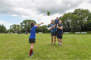 9 August 2017; Leinster's Sean O'Brien and Tadhg Furlong with Jamie MacAuley and Gwen Delaney during the Bank of Ireland Leinster Rugby Summer Camp at De La Salle RFC in Glenamuck North, Dublin. Photo by Matt Browne/Sportsfile