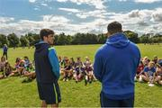 9 August 2017; Leinster academy players Jimmy O'Brien and Vakh Abdaladze during the Bank of Ireland Leinster Rugby School of Excellence event at Kings Hospital in Palmerstown, Dublin. Photo by Matt Browne/Sportsfile
