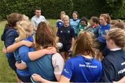 9 August 2017; Leinster's Ailsa Hughes with players from the Bank of Ireland Leinster Rugby School of Excellence event at Kings Hospital in Palmerstown, Dublin. Photo by Matt Browne/Sportsfile