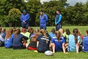 9 August 2017; Leinster coach Ben Armstrong with academy players Vakh Abdaladze and Jimmy O'Brien during the Bank of Ireland Leinster Rugby School of Excellence event at Kings Hospital in Palmerstown, Dublin. Photo by Matt Browne/Sportsfile