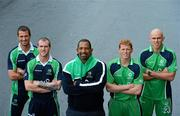 26 April 2012; In attendance at the launch of the new O'Neills Irish cricket kit are Ireland cricket coach Phil Simmons, centre, with players, from left to right, Max Sorensen, John Mooney, Kevin O'Brien and Trent Johnston. Elverys Sports, Dundrum Town Centre, Dublin. Picture credit: Matt Browne / SPORTSFILE