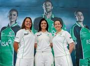 26 April 2012; In attendance at the launch of the new O'Neills Irish cricket Kit are, from left, Elena Tice, Emma Flanagan and Isobel Joyce from the Ireland ladies team. Elverys Sports, Dundrum Town Centre, Dublin. Picture credit: Matt Browne / SPORTSFILE