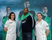 26 April 2012; In attendance at the launch of the new O'Neills Irish cricket kit are Ireland cricket coach Phil Simmons with Irish Internationals Emma Flanagan, left, and Isobel Joyce. Elverys Sports, Dundrum Town Centre, Dublin. Picture credit: Matt Browne / SPORTSFILE