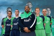 26 April 2012; In attendance at the launch of the new O'Neills Irish cricket kit are Ireland cricket coach Phil Simmons, centre, with players, from left, Max Sorensen, John Mooney, Kevin O'Brien and Trent Johnston. Elverys Sports, Dundrum Town Centre, Dublin. Picture credit: Matt Browne / SPORTSFILE