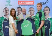 26 April 2012; In attendance at the launch of the new O'Neills Irish cricket kit are Cormac Farrell, from O'Neills Sports, with Irish internationals Elena Tice and Kevin O'Brien. Elverys Sports, Dundrum Town Centre, Dublin. Picture credit: Matt Browne / SPORTSFILE