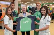 26 April 2012; In attendance at the launch of the new O'Neills Irish cricket kit are Cormac Farrell, from O'Neills Sports, with Irish internationals, from left, Elena Tice, Max Sorensen, Kevin O'Brien and Emma Flanagan. Elverys Sports, Dundrum Town Centre, Dublin. Picture credit: Matt Browne / SPORTSFILE