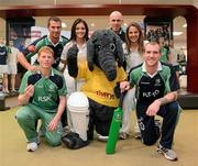26 April 2012; In attendance at the launch of the new O'Neills Irish cricket kit are the Elverys Sports mascot with Irish internationals, from left, Kevin O'Brien, Max Sorensen, Emma Flanagan, Trent Johnson, Elena Tice and John Mooney. Elverys Sports, Dundrum Town Centre, Dublin. Picture credit: Matt Browne / SPORTSFILE