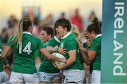 9 August 2017; Ciara Griffin, centre, of Ireland celebrates after scoring her sides second try during the 2017 Women's Rugby World Cup Pool C match between Ireland and Australia at the UCD Bowl in Belfield, Dublin. Photo by Eóin Noonan/Sportsfile