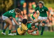 9 August 2017; Eimear Considine of Ireland is tackled by Trilleen Pomare of Australia during the 2017 Women's Rugby World Cup Pool C match between Ireland and Australia at the UCD Bowl in Belfield, Dublin. Photo by Eóin Noonan/Sportsfile