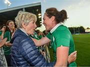 9 August 2017; Nora Stapleton of Ireland with her grandmother Iris Grant after the 2017 Women's Rugby World Cup Pool C match between Ireland and Australia at the UCD Bowl in Belfield, Dublin. Photo by Eóin Noonan/Sportsfile