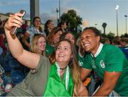 9 August 2017; Sophie Spence of Ireland poses for a selfie with a supporter after the 2017 Women's Rugby World Cup Pool C match between Ireland and Australia at the UCD Bowl in Belfield, Dublin. Photo by Eóin Noonan/Sportsfile