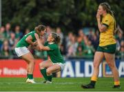 9 August 2017; Katie Fitzhenry of Ireland, left, celebrates with team mate Alison Miller after the 2017 Women's Rugby World Cup Pool C match between Ireland and Australia at the UCD Bowl in Belfield, Dublin. Photo by Eóin Noonan/Sportsfile