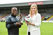 10 August 2017; Fuad Sule of Bohemians is presented with his SSE Airtricity/SWAI Player of the Month Award for July 2017 by Anne McAreavet from SSE Airtricity at Dalymount Park, Phibsborough, in Dublin. Photo by Matt Browne/Sportsfile