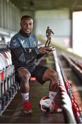 10 August 2017; Fuad Sule of Bohemians with his SSE Airtricity/SWAI Player of the Month Award for July 2017 at Dalymount Park, Phibsborough, in Dublin. Photo by Matt Browne/Sportsfile