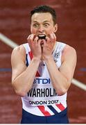 9 August 2017; Karsten Warholm of Norway reacts after winning the final of the Men's 400m Hurdles event during day six of the 16th IAAF World Athletics Championships at the London Stadium in London, England. Photo by Stephen McCarthy/Sportsfile