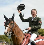 10 August 2017; Greg Broderick of Ireland celebrates winning The Speed Derby by The Clayton Hotel Ballsbridge on Zuidam at Dublin Horse Show at the RDS in Ballsbridge, Dublin. Photo by Cody Glenn/Sportsfile