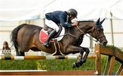10 August 2017; Bertram Allen of Ireland competing on Izzy By Picobello clear the final fence during the jump-off portion on their way to winning the Anglesea Serpentine Stakes at Dublin Horse Show at the RDS in Ballsbridge, Dublin. Photo by Cody Glenn/Sportsfile