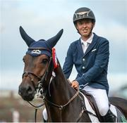 10 August 2017; Bertram Allen of Ireland and Izzy By Picobello after winning the Anglesea Serpentine Stakes at Dublin Horse Show at the RDS in Ballsbridge, Dublin. Photo by Cody Glenn/Sportsfile
