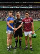 6 August 2017; Referee Barry Kelly with the two captains Patrick Maher of Tipperary and David Burke of Galway before the GAA Hurling All-Ireland Senior Championship Semi-Final match between Galway and Tipperary at Croke Park in Dublin. Photo by Ray McManus/Sportsfile