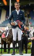 10 August 2017; Bertram Allen of Ireland after winning the Anglesea Serpentine Stakes on Izzy By Picobello at Dublin Horse Show at the RDS in Ballsbridge, Dublin. Photo by Cody Glenn/Sportsfile