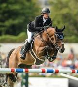 10 August 2017; Darragh Kenny of Ireland competing on Team de Coquerie during the Anglesea Serpentine Stakes at Dublin Horse Show at the RDS in Ballsbridge, Dublin. Photo by Cody Glenn/Sportsfile