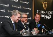 11 August 2017; CEO of Pro14 Martin Anayi, left, Chairman of Pro14 Gerald Davies, centre, and SARU CEO Jurie Roux during the South African launch of Guinness PRO14 at Southern Sun Cullinan in Cape Town, South Africa. Photo by Carl Fourie/Sportsfile