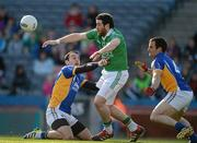 28 April 2012; Seamus Quigley, Fermanagh, in action against Anthhony McLoughlin, left, and Alan Byrne, Wicklow. Allianz Football League, Division 4 Final, Fermanagh v Wicklow, Croke Park, Dublin. Picture credit: Ray McManus / SPORTSFILE