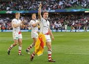 28 April 2012; Paddy Jackson, right, Ulster, along with Andrew Trimble, left, and Craig Gilroy, celebrates at the final whistle. Heineken Cup Semi-Final, Ulster v Edinburgh, Aviva Stadium, Lansdowne Road, Dublin. Picture credit: Oliver McVeigh / SPORTSFILE