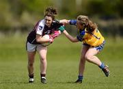 29 April 2012; Charlotte Cooney, Galway, in action against Eimear O'Connor, Clare. Bord Gáis Energy Ladies National Football League, Division 2 Semi-Final, Clare v Galway, St. Rynagh's GAA, Banagher, Co. Offaly. Picture credit: David Maher / SPORTSFILE