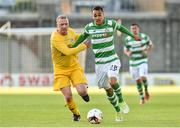 11 August 2017; Graham Burke of Shamrock Rovers in action against Philip Duffy of Glenville during the Irish Daily Mail FAI Cup first round match between Shamrock Rovers and Glenville at Tallaght Stadium in Tallaght, Dublin. Photo by Matt Browne/Sportsfile
