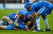 11 August 2017; Killian Cantwell of Finn Harpson the ground celebrates with team mates after scoring his sides first goal during the Irish Daily Mail FAI Cup First Round match between Finn Harps and Bohemians at Finn Park in Ballybofey, Donegal. Photo by Oliver McVeigh/Sportsfile