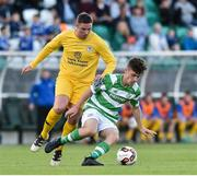 11 August 2017; Aaron Bolger of Shamrock Rovers in action against Derek Doyle of Glenville during the Irish Daily Mail FAI Cup first round match between Shamrock Rovers and Glenville at Tallaght Stadium in Tallaght, Dublin. Photo by Matt Browne/Sportsfile