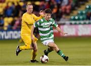 11 August 2017; Aaron Bolger of Shamrock Rovers in action against Philip Duffy of Glenville during the Irish Daily Mail FAI Cup first round match between Shamrock Rovers and Glenville at Tallaght Stadium in Tallaght, Dublin. Photo by Matt Browne/Sportsfile