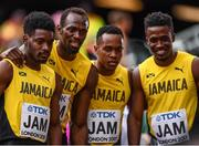 12 August 2017; The Jamaica team, from left, Micheal Campbell, Usain Bolt, Julian Forte and Tyquendo Tracey followng round one of the Men's 4x100m Relay event during day nine of the 16th IAAF World Athletics Championships at the London Stadium in London, England. Photo by Stephen McCarthy/Sportsfile