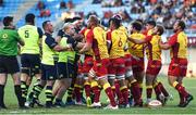 11 August 2017; Both teams during the Pre-season Friendly match between USA Perpignan and Leinster at Aimé Giral Stadium in Perpignan, France. Photo by Alexandre Dimou/Sportsfile