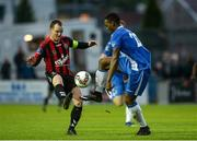 11 August 2017; Ibrahim Keita of Finn Harps in action against Derek Pender of Bohemians during the Irish Daily Mail FAI Cup First Round match between Finn Harps and Bohemians at Finn Park in Ballybofey, Donegal. Photo by Oliver McVeigh/Sportsfile