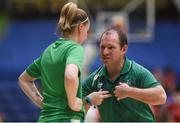 12 August 2017; Ireland coach Tommy O'Mahony speaks with Bronagh Power Cassidy of Ireland ahead of the FIBA U18 Women's European Basketball Championships match between Ireland and Poland at National Basketball Arena in Tallaght, Dublin. Photo by David Fitzgerald/Sportsfile
